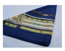 Beautiful blue scarf patterned belts, gold links, Retro and Vintage Made in Italy