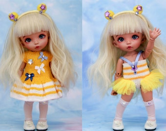 Anime hero set (dress, body suit, headband, knee socks)  for Pukifee/ Lati Yellow, BJD dolls