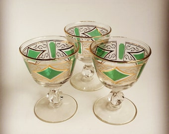 3 Dainty Cordial Glasses, Green and Gold Diamond Swirl Pattern Gold Rim