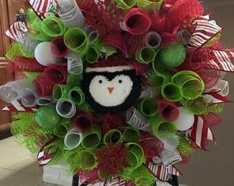 Penguin Christmas Wreath