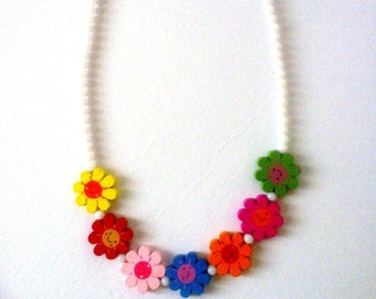 Elastic Beaded Necklace for Girls-Wood Flower Bead Necklace for Girls