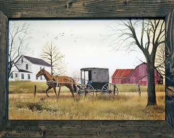 Amish Decor, Horse Decor, Horse and Buggy Art, 15x19, Rustic and Distressed Wood Frame, Amish Art, Primitive Country Decor, Country Decor.