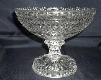 Anchor Hocking Wexford Crystal Compote - Vintage Item #528