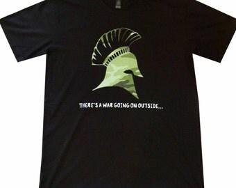Camo Spartan Helmet on Black Men's high quality short sleeve premium T Shirt ships worldwide