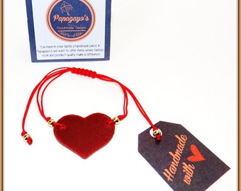 Original Bracelet with red leather heart