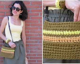 Handmade crochet bag. Oil green, yellow, light brown shoulder bag. Handmade three color bag.