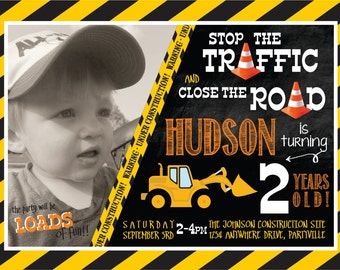 Construction themed birthday invitation with photo!