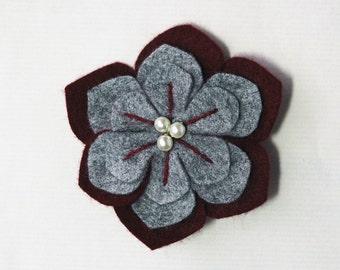 wool Felt Brooch flower grey burgundy red hand embroidered details gift box