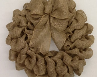 Natural Burlap Wreath with a Bow
