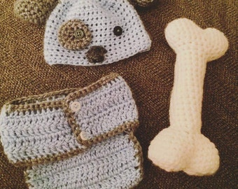 Puppy baby boy crochet photo outfit