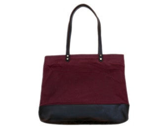 Waxed Canvas and Leather Market Tote in Wine
