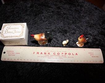 Vintage Miniature Bone China Shiken Three-Piece Chicken Set