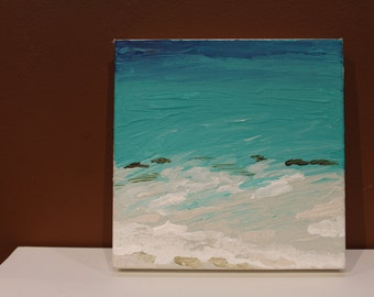 Bermuda beach ocean painting with acrylic on canvas