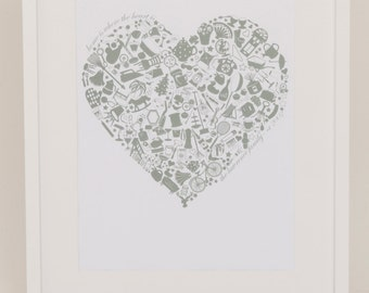 Home is where the Heart is SAGE GREEN PRINT