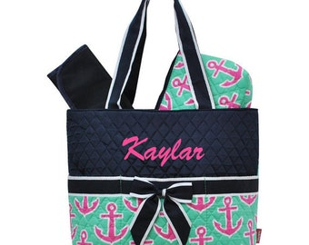 Monogrammed Diaper Bag/ Quilted Anchor/ FREE MONOGRAM
