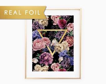 Floral Triangle Real Foil Art Print 11x14, 8x10, 5x7