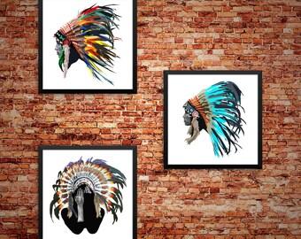 Native American Headdress Poster Set