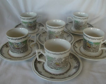 Shakespeares Sonnets Kensington Ironstone Set of 6 Cups and Saucers