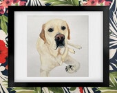 Morgan the English Labrador Retriever Watercolor Art Print