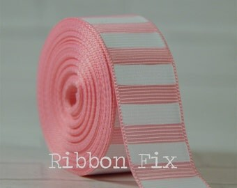 """2 yards 7/8"""" Baby Pink with White Vertical Stripe Grosgrain Ribbon - Bold Stripes - Wedding - Baby - Home Decor - Dog Collar Leash - Sewing"""