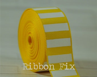 """2 yards 7/8"""" Yellow with White Vertical Stripe Grosgrain Ribbon - Bold Stripes - Wedding - Baby - Home Decor - Dog Collar Leash - Sewing"""