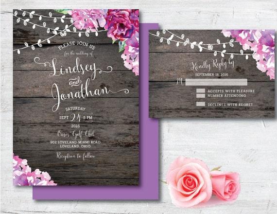 Purple Rustic Wedding Invitations: Printable Wedding Invitation Purple Wedding By