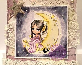 OOAK Art By Miran Lunar Deity Handmade Card