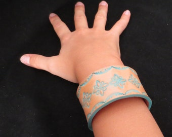 Leather Stamped Bracelet with Turquoise Patina Leather Cuff Leather Wristband Geometric Pattern