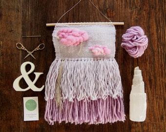 Handwoven nursery wall hanging // Pink clouds & silver rain // Weaving // Baby girl
