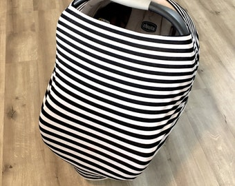 Striped stretchy carseat nursing cover, black and white stripe nursing cover, multi use nursing cover, shopping cart cover, high chair cover