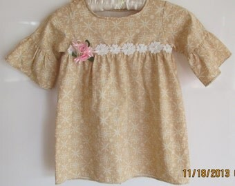 Sweet Light Brown Batik Floral Print Girl's Dress with Lace and Soft Organza 3D flower Brooch