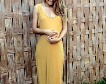 Long mustard maternity dress