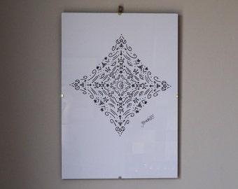Diamond witchcraft mandala print
