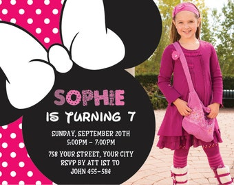 Minnie Mouse Birthday, Minnie Mouse Invitation, Minnie Mouse Party, Minnie Mouse Birthday , Minnie Mouse Invitationm girl | No 22
