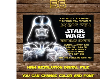 Star Wars Invitation - Star Wars Party Invitation - Star Wars Birthday Party Invite - Star Wars Party Printable - FREE card THANK YOU | #56