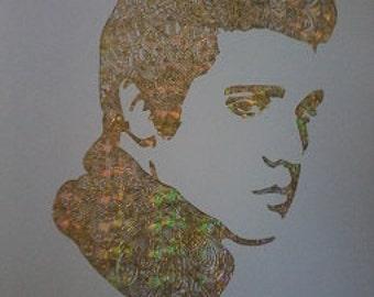 Gold Holographic Distressed Real Foil Zentangle Elvis Presley A4 Art Print