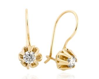 Floral Diamond Earrings, Diamond Dangle Earrings, Bride Earrings, 14K Gold Flower Earrings, Wedding Earrings, Bridal Earrings
