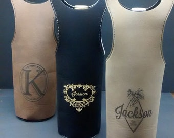 Personalized Leatherette Wine Bag/Tote - Custom Logo