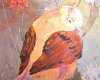 "ORIGINAL ""FAT BIRD 2"" oil on canvas by KarolinaART"