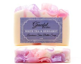 WHITE TEA & BERGAMOT   Glycerin   Shea   Mango   Cocoa   The Graceful Rabbit