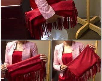 Custom-made soft lamb leather fringe clutch purse