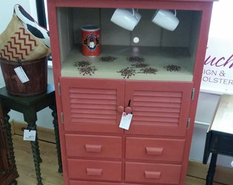 shabby chic, painted furniture, coffee cupboard, kitchen cupboard