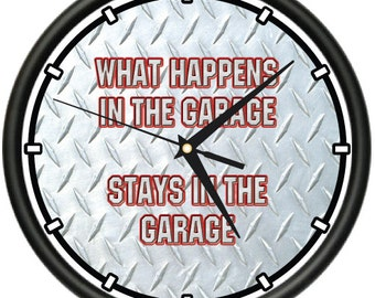What Happens In The Garage Wall Clock Mechanic Dad Diamond Plate Gift