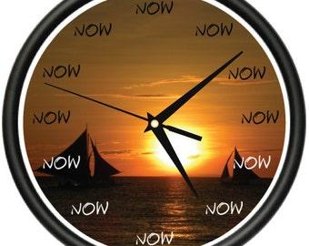 THE TIME IS Now Wall Clock boats sailboat captain marina dock sailing boat gift