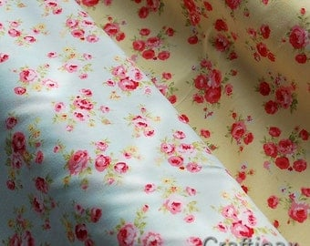 Vintage Style, Soft Cotton Poplin Fabric - mini rose - Ideal for all Sewing Projects - Pale Mint/Yellow Floral - UK Seller