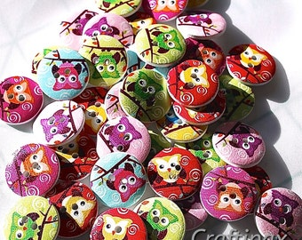 20 Owl Buttons, Assorted Colours, Great for Scrapbooking or Sewing Projects - 2cms - Uk Seller