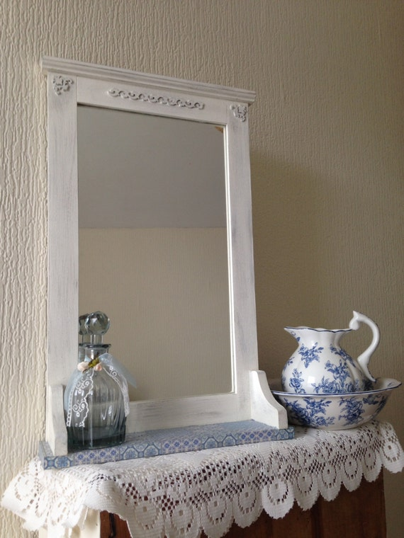 shabby chic wall mirror with shelf by shabbychicemporiumeu. Black Bedroom Furniture Sets. Home Design Ideas