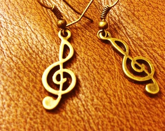 Music treble clef earrings