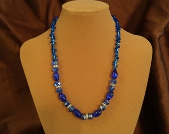 cobalt glass beaded necklace