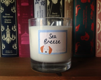 Sea Breeze Scented Whiskey Glass Candle Soy Wax Handmade